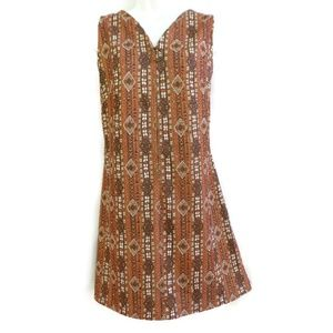 Vintage Dress 50s 60s Homemade Mod Full Front Zip